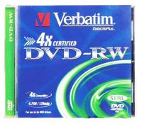 Диск DVD-RW Verbatim 4.7Gb 4x Jewel case (1шт) (43285) - фото