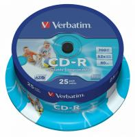 Диск CD-R Verbatim 700Mb 52x Cake Box (25шт) Printable (43439) - фото