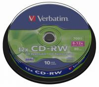 Диск CD-RW Verbatim 700Mb 12x Cake Box (10шт) (43480) - фото