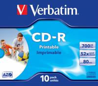 Диск CD-R Verbatim 700Mb 52x Jewel case (10шт) Printable (43325) - фото