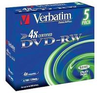 Диск DVD-RW Verbatim 4.7Gb 4x Jewel case (5шт) (43285) - фото