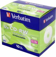Диск CD-RW Verbatim 700Mb 12x Jewel case (10шт) (43148) - фото