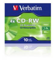 Диск CD-RW Verbatim 700Mb 4x Jewel case (10шт) (43123) - фото
