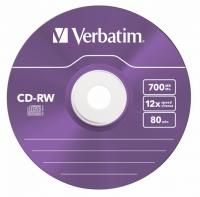 Диск CD-RW Verbatim 700Mb 12x Slim case (5шт) Color (43167) - фото